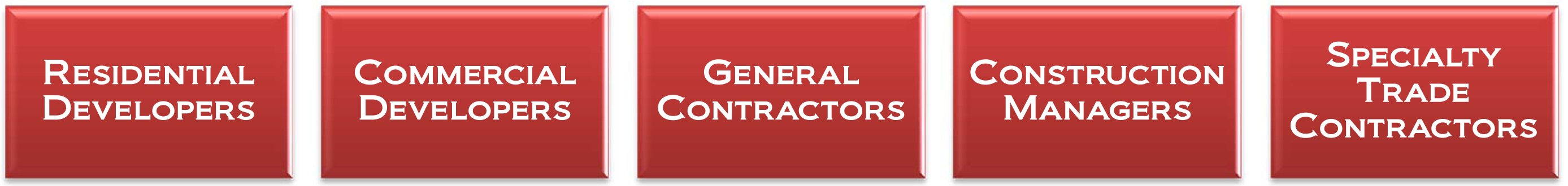 Residential developers commercial developers general contractors construction managers specialty trade contractors